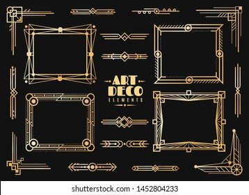 Art deco elements. Gold wedding deco frame border, classic dividers and corners. 1920s retro luxury art golden abstract vector framed vintage design