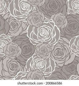Art Deco floral seamless pattern with roses. Vector roses hand drawn wallpaper