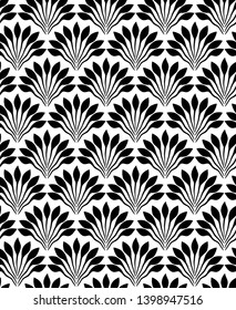 Art deco with flowers. Seamless pattern with fan tiles. Floral repeating stylish texture. Abstract leaves backdrop. Endless texture use for decoration, fabric, background, wallpaper, paper and design