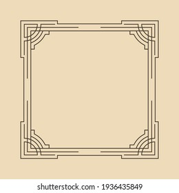 Art deco frame. Artwork graphic pattern. Orante wedding invintation background template. Vintage retro style banner or label design. Vector design object