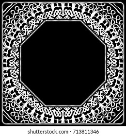 art deco frame with floral ornament for fabric design. vector illustration.
