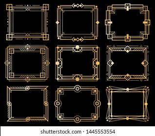 Art deco frames. Gold deco image frame borders, golden geometry line patterns. 1920s vintage luxury art elements. Vector isolated abstract llustration ornament design framed set