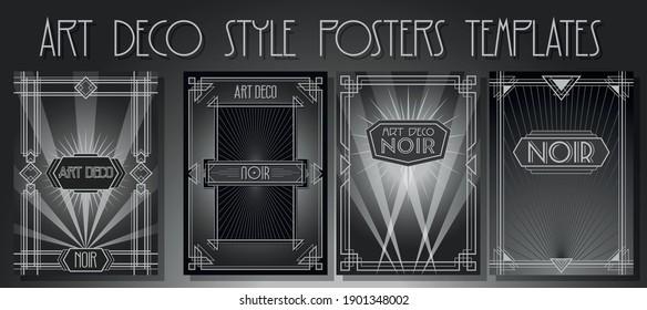 Art Deco Frames, Noir Movie Style Posters Template Set, Retro Geometric Decor, Rays of Light, Monochrome Backdrop