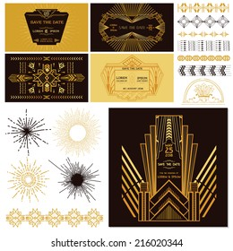 Art Deco and Gatsby Party Set. For Wedding, Decoration, Scrapbooking. Vector