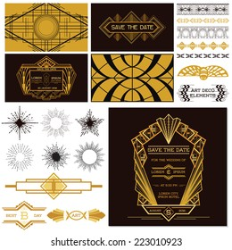 Art Deco or Gatsby Party Set. For Wedding, Decoration, Scrapbooking in vector