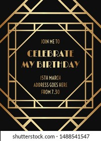 Art Deco Gatsby Style Geometric Invitation