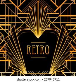 Art deco geometric frame. Golden pattern in 1920's style.