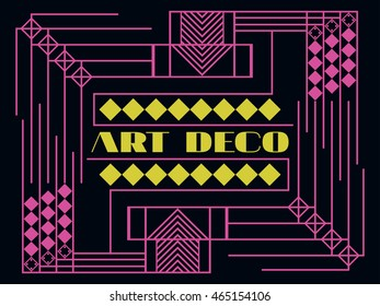 Art deco geometric frame. Retro background in style 1920's, 1930's. Vector illustration.