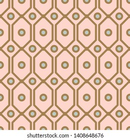 Art deco geometric pattern with net circle shapes in gold and blush colors. Seamless vector texture print.