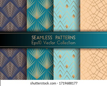 Art deco geometric seamless patterns set vector graphic design with geometric shapes and thin gold lines grid. Chic interior tile prints. Gold beige teal blue art deco seamless patterns collection.