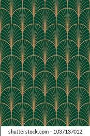 Art deco geometric seamless vector pattern. Gold and green peacock abstract feathers texture.