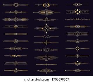 Art deco gold divider. Modern golden elegant border, decorative antique ornament. Vintage arabic geometric dividers isolated icons elements set. Illustration border menu divider, template label page