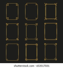 Art Deco gold frames and borders collection. Trendy gatsby design elements. Retro  style. Isolated. Vector.