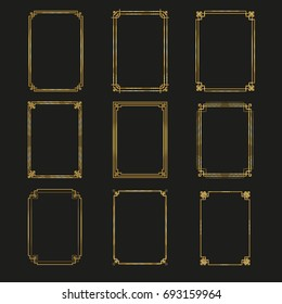 Art Deco gold frames and borders collection 2. Trendy gatsby design elements. Retro style. Isolated. Vector.