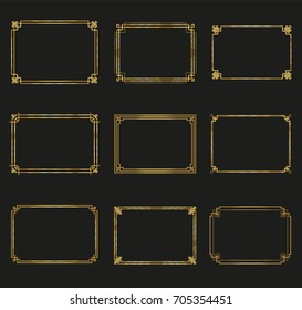 Art Deco gold horizontal frames and borders collection. Trendy gatsby design elements. Retro style. Isolated. Vector.