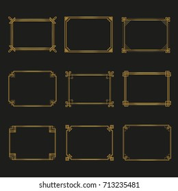 Art Deco gold horizontal frames and borders collection 2. Trendy gatsby design elements. Retro style. Isolated. Vector.