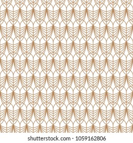 Art deco gold line geometric style seamless vector pattern. Abstract peacock feather elegant background.