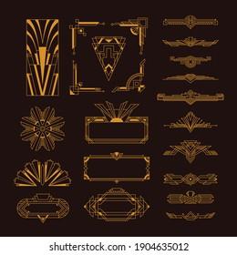 Art deco golden elegant vintage style decorative elements frames templates set black background isolated vector illustration