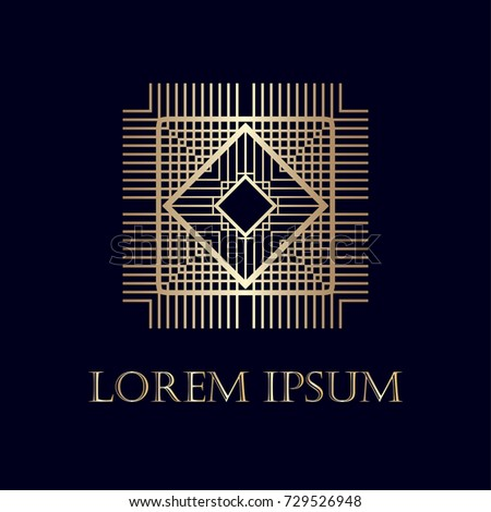 art deco golden ornamental logo template stock vector royalty free