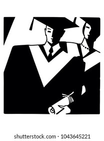 Art Deco Grads - Retro Clip Art Illustration