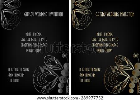 Art Deco Great Gatsby Wedding Theme Stock Vector Royalty Free