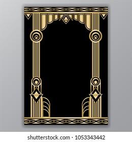 art  deco greece columns a4 template