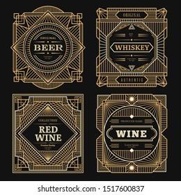 Art deco labels. Vintage alcohol labels framed brands rum tequila drinks golden borders swirl vector template