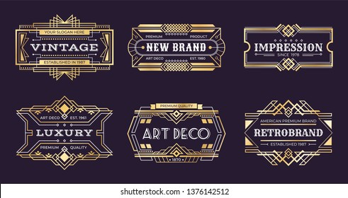 Art deco labels. Vintage ornamental logos, 1920s vintage golden badge, nouveau decorative banners. Vector art deco emblems illustration