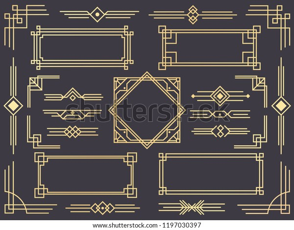 Art deco line border. Modern arabic gold frames, decorative lines borders and geometric golden label frame. Victorian vintage old antique elegant vector design isolated icons elements set