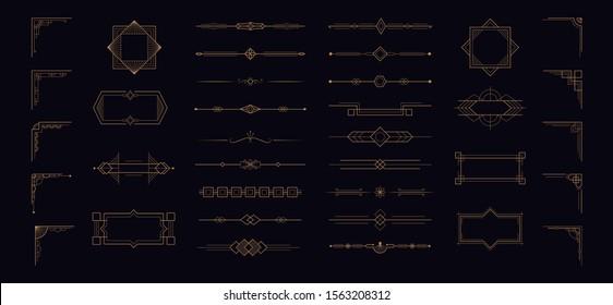 Art deco line border ornament set. Modern creative arabic golden frames,  vector geometric vintage label, antique design template in 1920s style