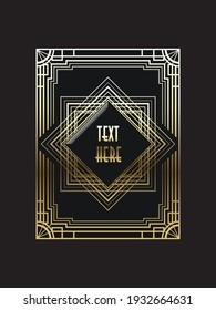 Art deco logo, vector illustration, with editable text.