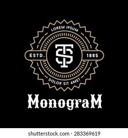 art deco luxury classic linear monochrome golden minimal hipster  geometric vintage vector monogram, frame , border , label  for your logo badge or crest