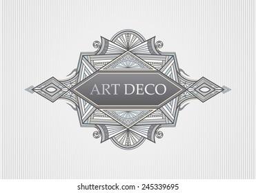 Art Deco Menu, Title Cover Page, Frame (Vector Art)
