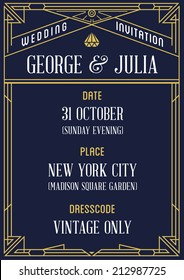 Art Deco and Nouveau Epoch 1920's 1930's and 1940's Gangster Era Vector Invitation