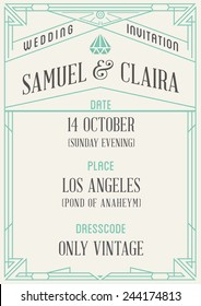 Art Deco and Nouveau Epoch 1920's 1930's and 1940's Gangster Era Vector Invite