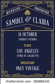 Art Deco and Nouveau Epoch 1920's 1930's and 1940's Gatsby Style Gangster Era Vector Invite