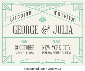Art Deco and Nouveau Epoch Gatsby 1920's 1930's and 1940's Gangster Era Vector Invite