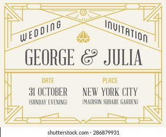 Art Deco and Nouveau Gatsby Epoch 1920's 1930's and 1940's Gangster Era Vector Invite