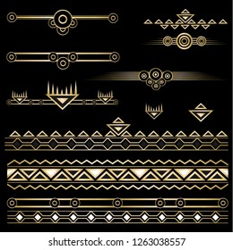 Art deco /Art nuvo diy vector golden black elegant  set of objects and borders  for print and web. Creative illustration.