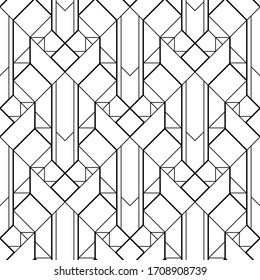 Art Deco pattern. Black and white background