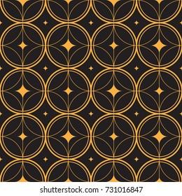 Art Deco Pattern Gold Rings Stars