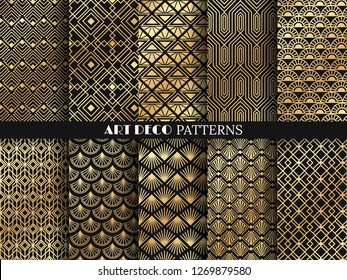 Art deco pattern. Golden minimalism lines, vintage geometric arts and deco line ornate. Geometrics gold minimal ornaments seamless gatsby elegant abstract luxury patterns vector set