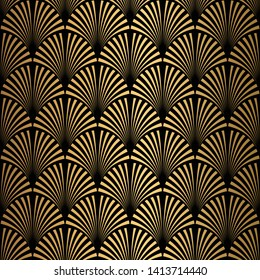 Art Deco Pattern. Seamless black and gold background. Scales or shells crisscross ornament. Minimalistic geometric design. Vector lines. 1920-30s motifs. Luxury vintage illustration