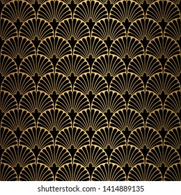Art Deco Pattern. Seamless black and gold background. Scales or shells ornament. Minimalistic geometric design. Vector lines. 1920-30s motifs. Luxury vintage illustration