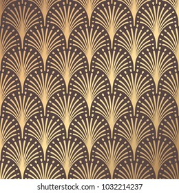 Art Deco Pattern. Seamless golden background. Minimalistic geometric design. Vector line design. 1920-30s motifs. Luxury vintage illustration