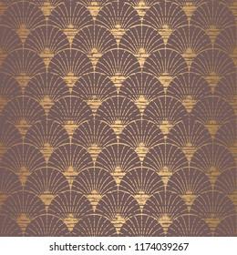 Art Deco Pattern. Seamless golden background. Minimalistic geometric design. Grunge stripes and handrwiting texture. Vector line design. 1920-30s motifs. Luxury vintage illustration
