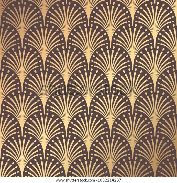 Art Deco Muster Nahtloser Goldener Hintergrund Minimalistisches Geometrisches Stock Vektorgrafik Lizenzfrei 1032214237