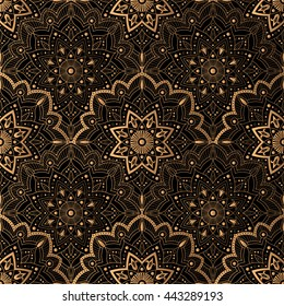 Art Deco pattern seamless vector. Vintage lace pattern. Gold black background. Illustration for 1920's party, wedding or fabric print.