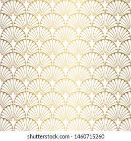 Art Deco Pattern. Seamless white and gold background. Scales or shells ornament. Minimalistic geometric design. Vector lines. 1920-30s motifs. Luxury vintage illustration
