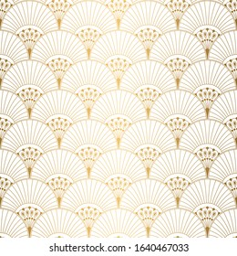 Art Deco Pattern. Seamless white and gold background. Metallic shells or scales lace ornament. Minimalistic geometric design. Vector lines. 1920-30s motifs. Luxury vintage illustration. Wedding ornate